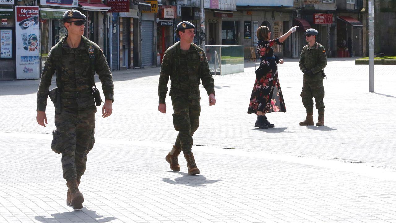 Controles de la Policia Local y de la Brilat en las calles de Pontevedra