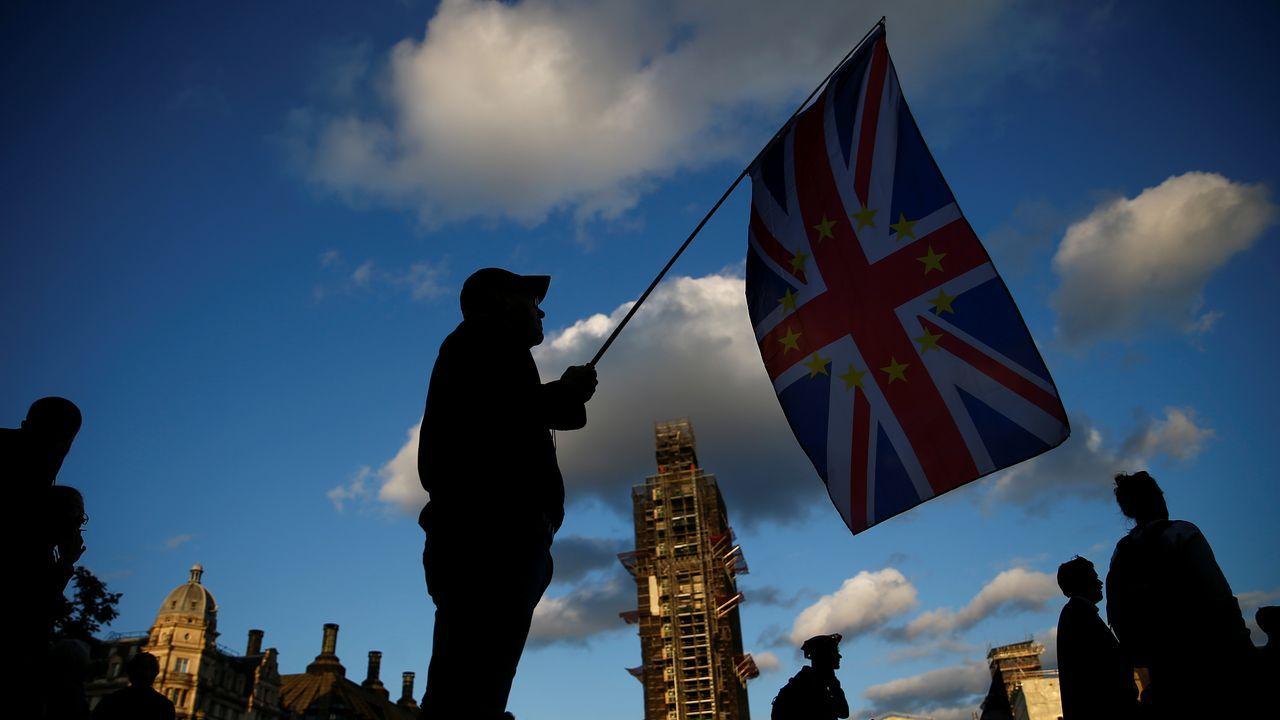 Un manifestante a favor de la permanencia, ante el Parlamento británico