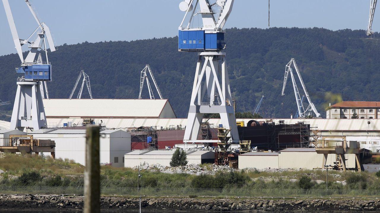 Las imágenes de la manifestación del naval en la ría de Ferrol.El presidente de la Xunta y del PPdeG, Alberto Núñez Feijoo