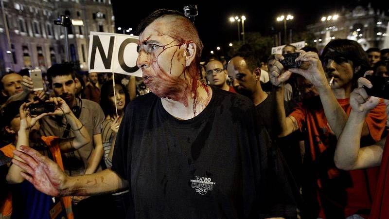 Cargas policiales en Madrid.Presentación de Rompe para dar a conocer sus intenciones.