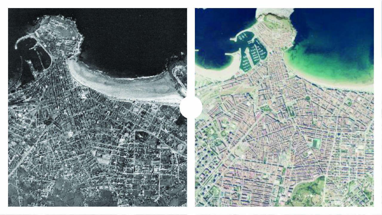 Así era Gijón en 1956 y en 2019, según datos del Instituto Geográfico Nacional (IGN)