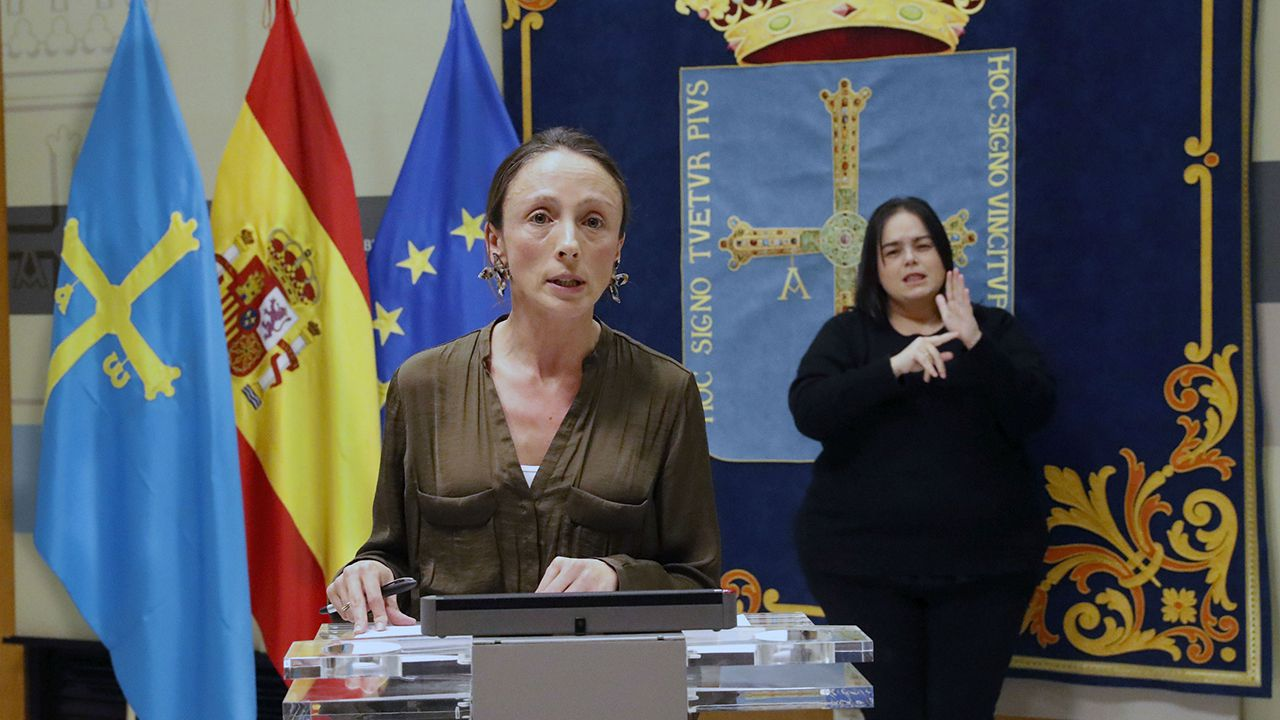 Comparecencia de los responsables técnicos en la gestión de la crisis del coronavirus.Melania Alvarez, portavoz del Gobierno del Principado y consejera de Derechos Sociales y Bienestar