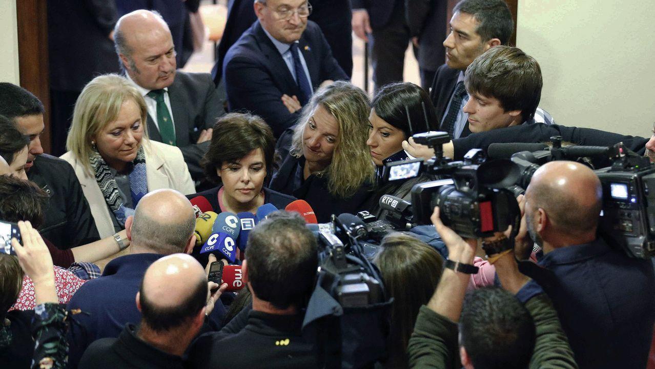 La Folixa, Gijón.La vicepresidenta del Gobierno, Soraya de Sáenz de Santamaría, atiende a los medios de comunicación tras asistir a la toma de posesión del nuevo delegado del Gobierno en Asturias, Mariano Marín