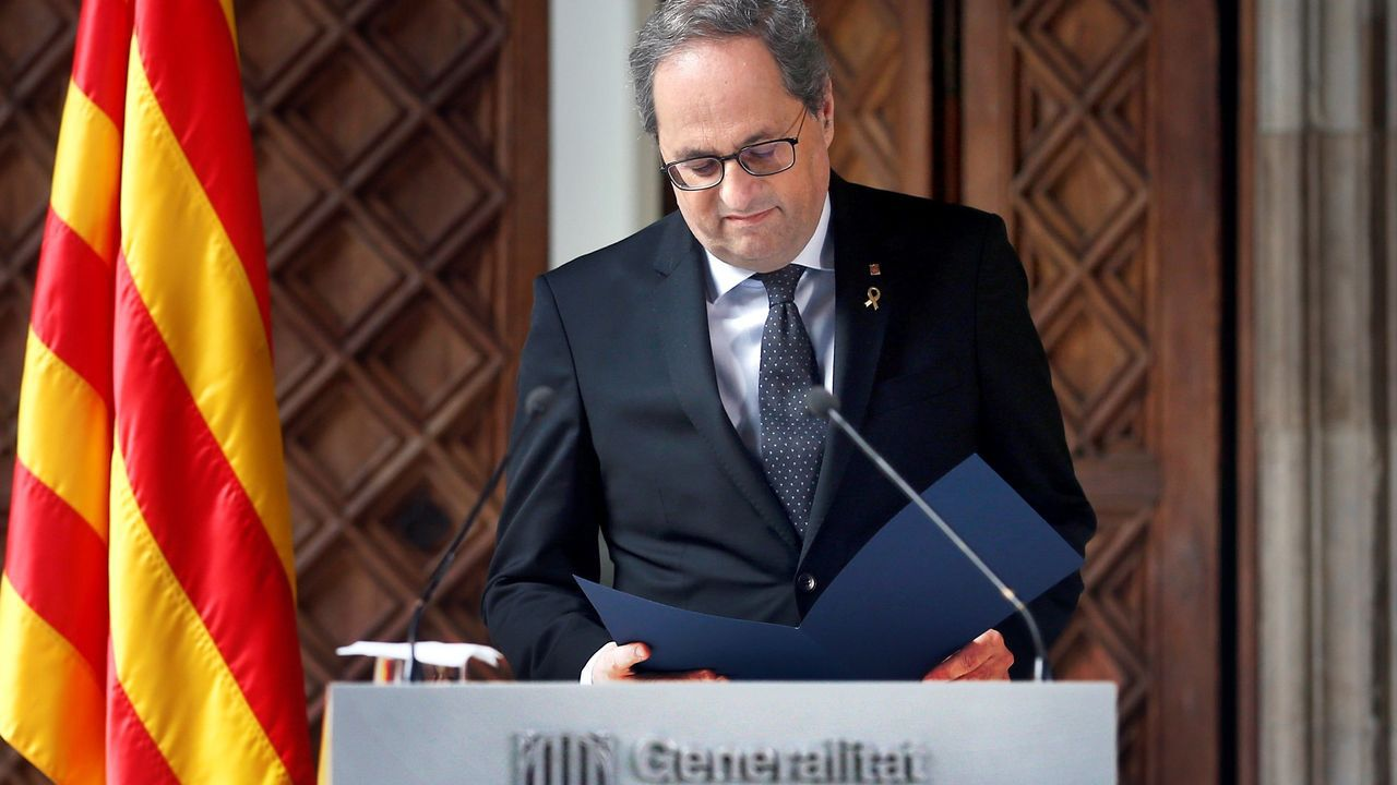 En directo: declaración institucional de Quim Torra.Pere Aragonès entregó este miércoles el proyecto de presupuestos al presidente del Parlamento catalán, Roger Torrent