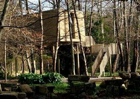 Los árboles atraviesan literalmente las Cabañitas del Bosque, en Outes, que cuentan con un interior lujoso, en madera gallega