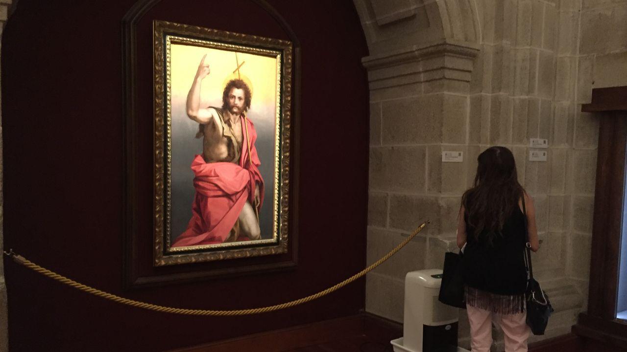 Un óleo sobre tabla con la imagen de san Juan Bautista