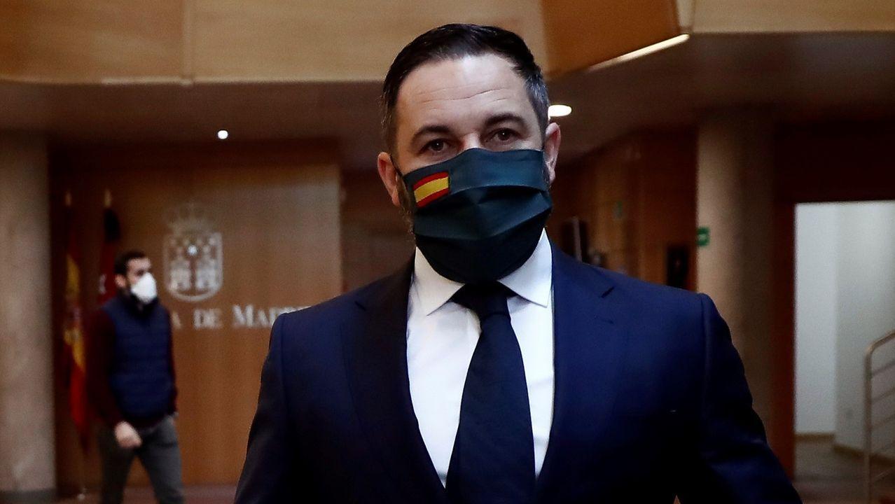 Santiago Abascal, esta mañana por los pasillos de la Asamblea de Madrid