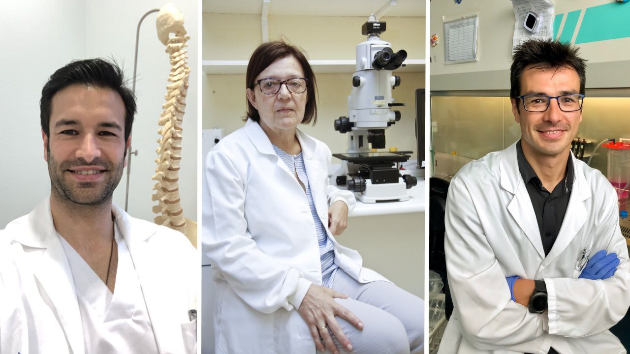 La administración masiva de la vacuna en Lugo en imágenes.De izquierda a derecha, Pedro Reimunde, Laura Sánchez y Fernando Torres