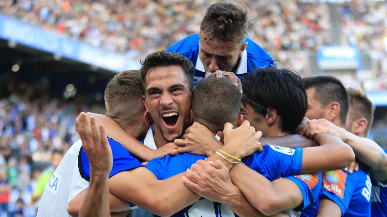 Deportivo Real Oviedo Riazor gol Obeng.Anquela y Egea se saludan en Riazor