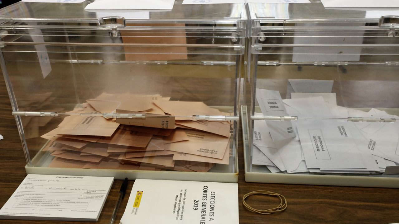 Urnas de las elecciones generales del 10 de noviembre del 2019 en Burela