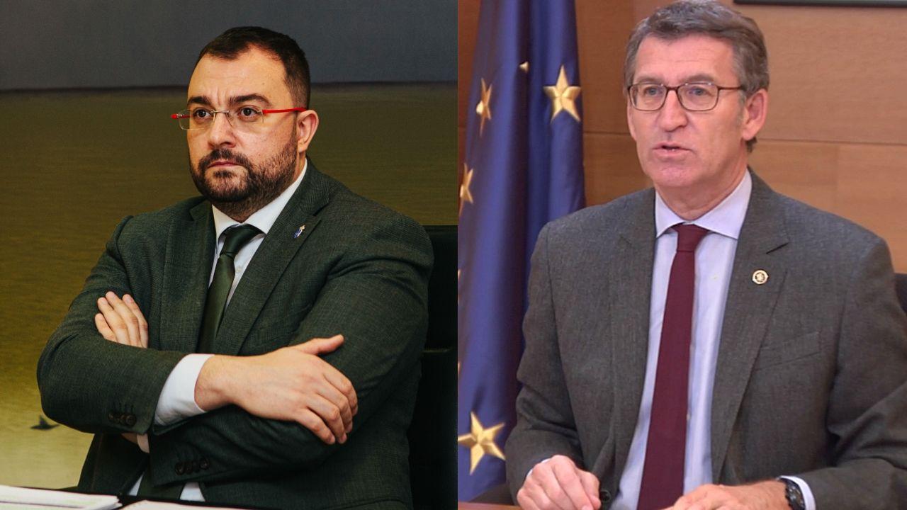 Encuentro entre el presidente de la Xunta, Alberto Núñez Feijoo, y el presidente del Principado de Asturias, Adrián Barbón.Adrián Barbón participa de forma telemática en los Encuentros del Eo