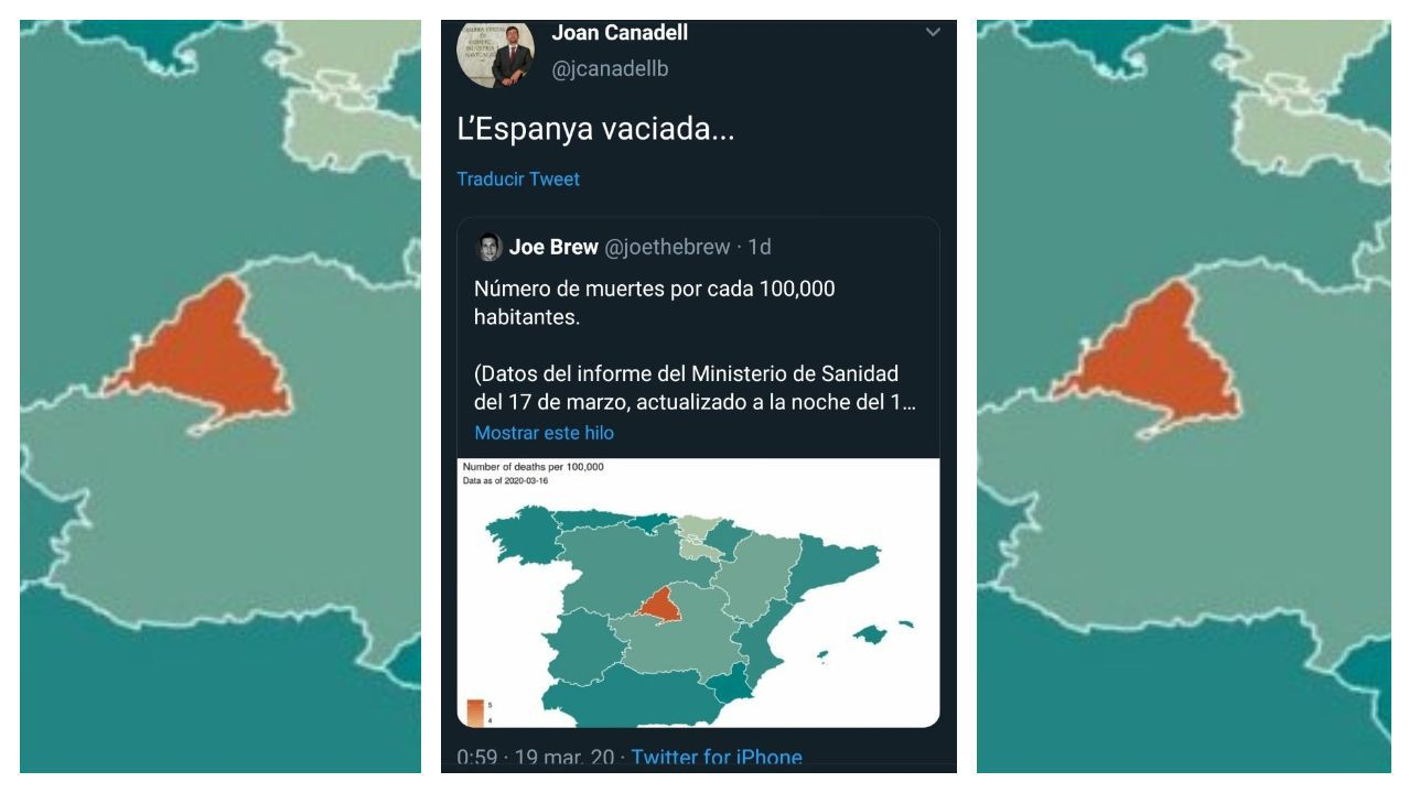 Tuit del presidente de la Cámara de Comercio de Barcelona, Joan Canadell, con un mapa con el número de muertos y el comentario: «La España vaciada»