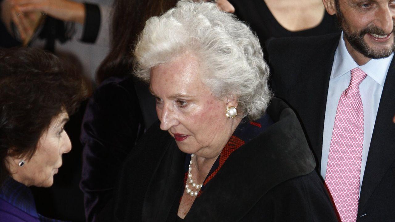 Llegada de la infanta Pilar al 70 cumpleaños de la reina Sofía