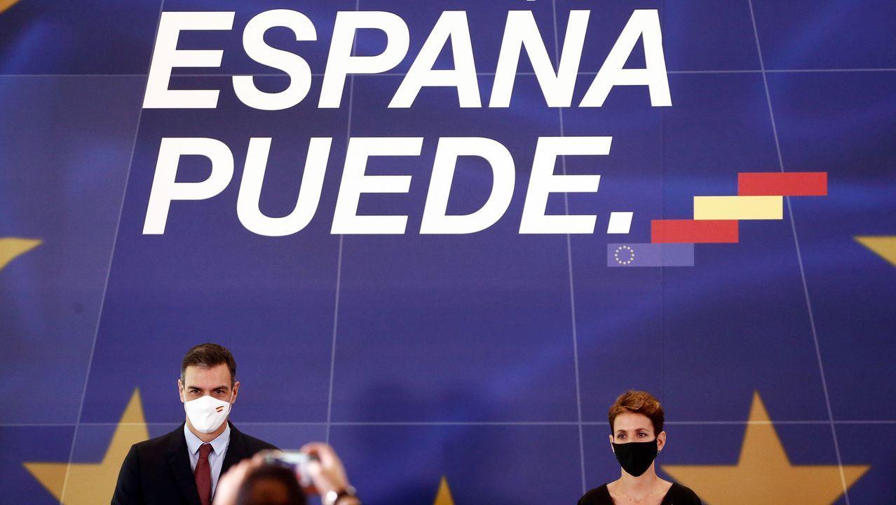 Sánchez y Chivite, durante un acto conjunto este viernes en Pamplona