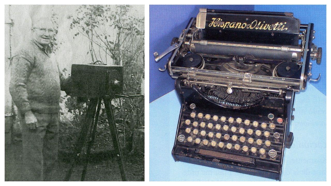 Manuel González, retratado junto a su cámara. A la derecha, la máquina de escribir que encontró abandonada en la guerra y con la que escribió su libro. El autor no muestra inclinación ideológica hacia uno u otro bando, porque, cree, todos sufrían por igual.