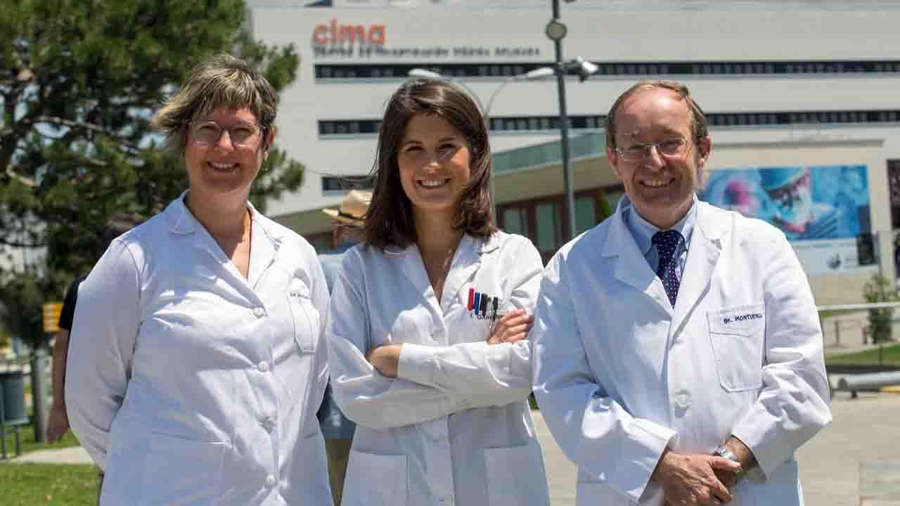 Los doctores Jackeline Agorreta, Irati Garmendia y Luis Montuenga, coordinadores de la investigación coordinada por el Cima y la Clínica Universidad de Navarra sobre cáncer de pulmón