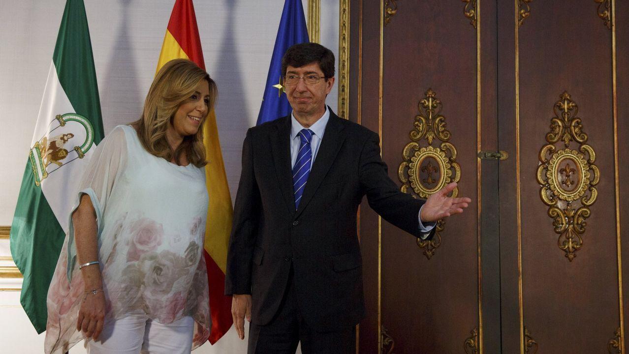 La presidenta andaluza, Susana Díaz, y el líder de Ciudadanos en Andalucía, Juan Marín, durante una reunión en junio del 2015