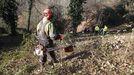 Personal de Seaga, durante los trabajos de desbroce que empezaron la semana pasada en Trascastro