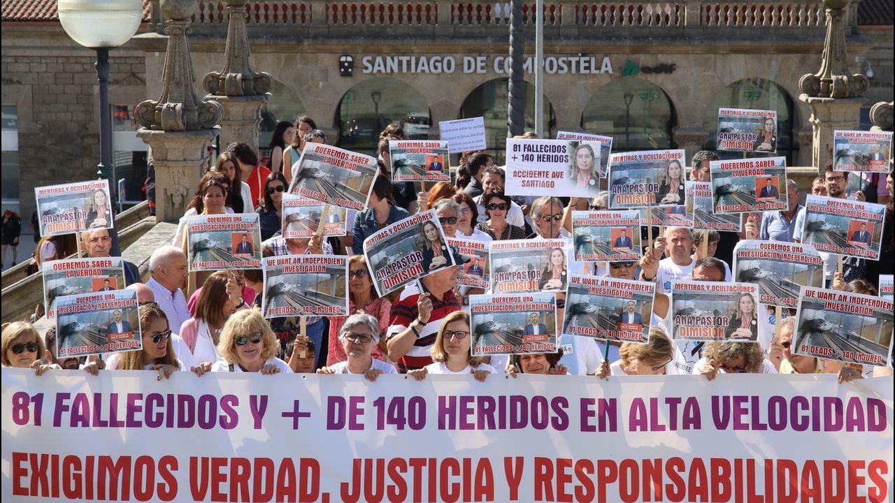 El tramo del AVE que ahorrará 50 minutos en el viaje a Madrid se abrirá «en pocos meses».Imagen de la manifestación de las víctimas del Alvia en Santiago, coincidiendo con el aniversario del accidente el pasado 24 de julio