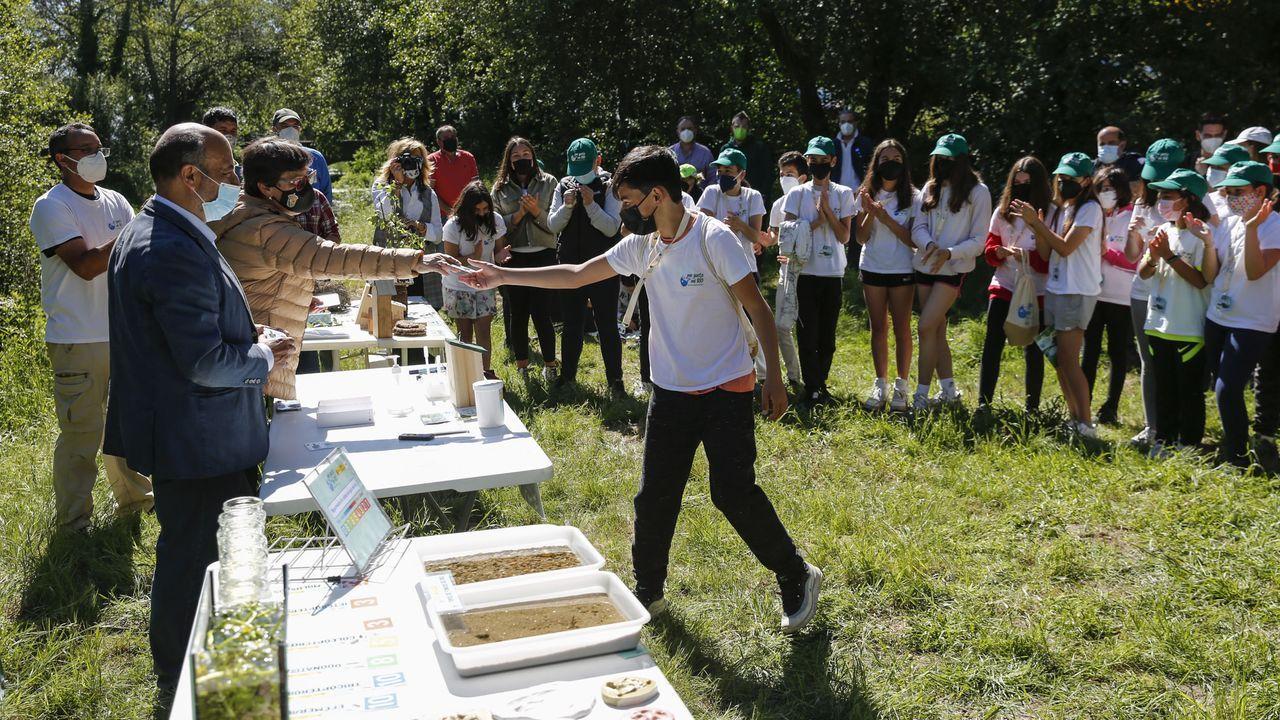 Escolares de Rosalía de Castro de Xinzo celebraron el Día del Medio Ambiente.Andaina tras la jornada sociosanitaria desarrollada en Xinzo