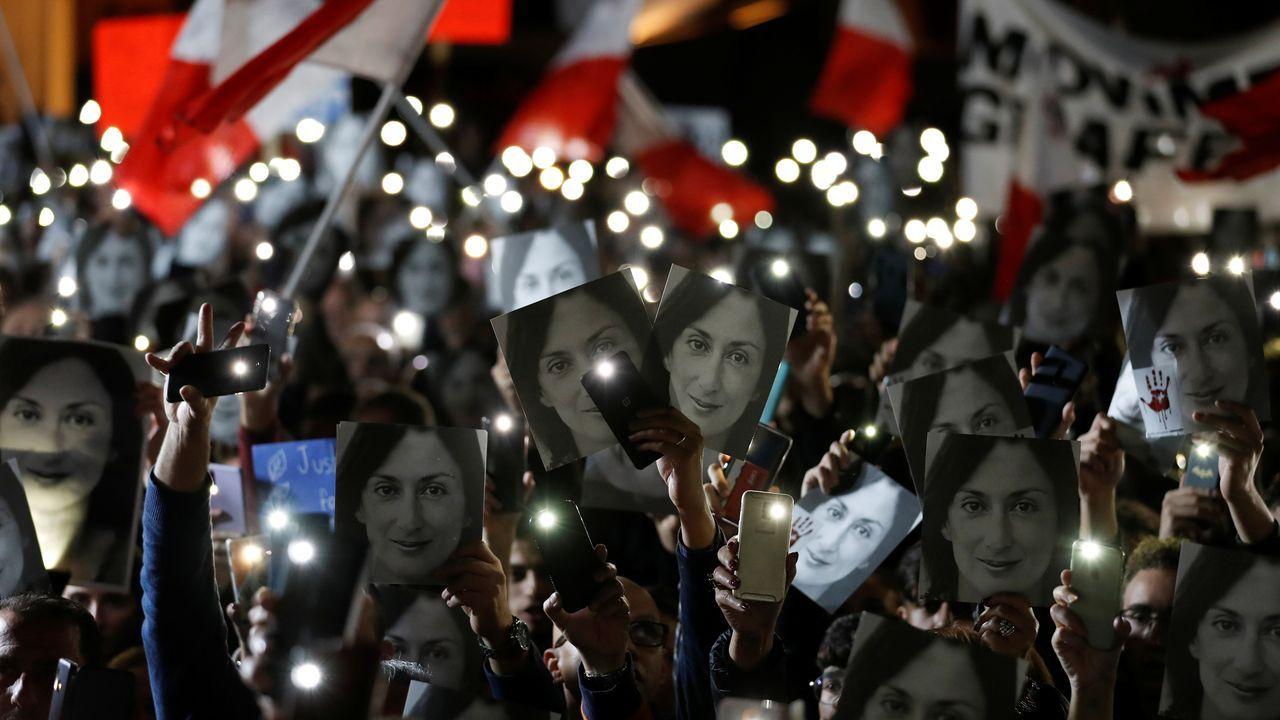 Los malteses se echaron a la calle para demandar justicia tras fel asesinato de la periodista