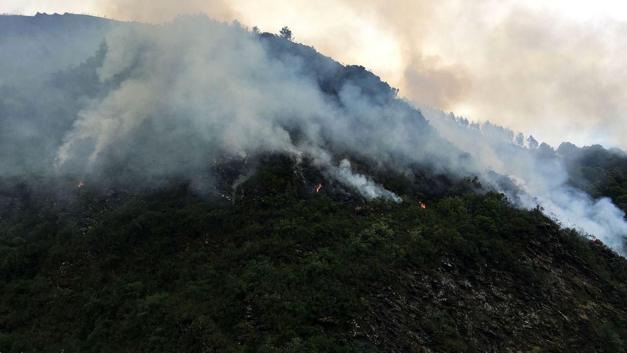 Incendio en Folgoso do Courel.Uno de los vehículos que cubren el servicio de transporte escolar en el municipio de Folgoso do Courel