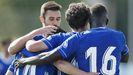Javi Mier, Obeng, Jimmy y Lucas Ahijado celebran el 1-0 ante el Lugo