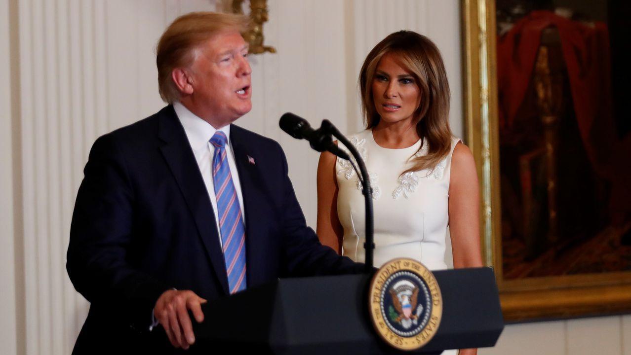 Salinas, Castrillón, playa, Asturias,.Trump, durante un homenaje organizado por la primera dama, Melania Trump, a las esposas y a las madres de los militares, el viernes en la Casa Blanca.