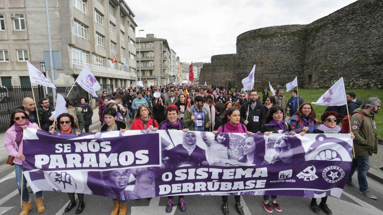 Lugo y la Muralla fueron escenario de la gran marcha feminista de Galicia del 3 de marzo del 2019