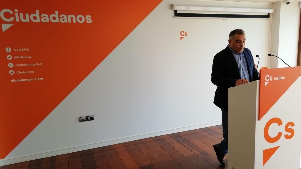 Laureano Bermejo, secretario de Organización de Ciudadanos Galicia, en rueda de prensa