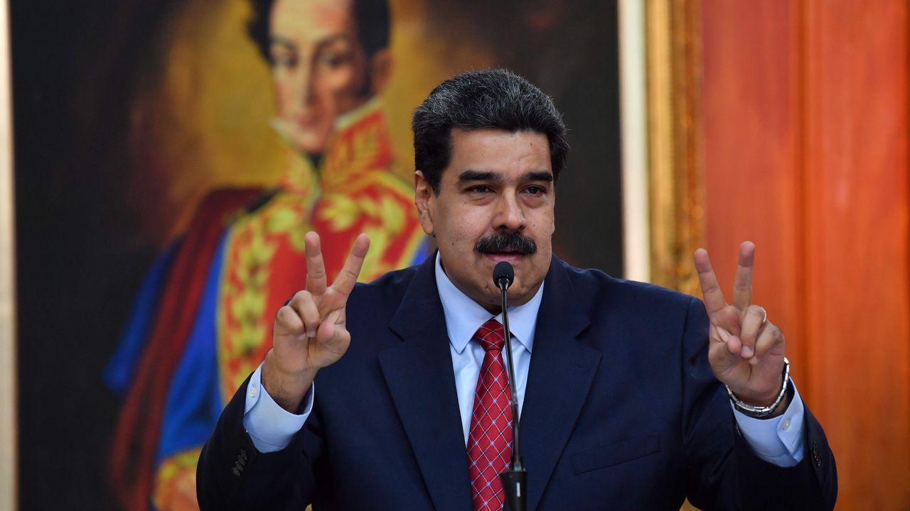 Nicolas Maduro, durante la rueda de prensa celebrada hoy en el Palacio de Miraflores