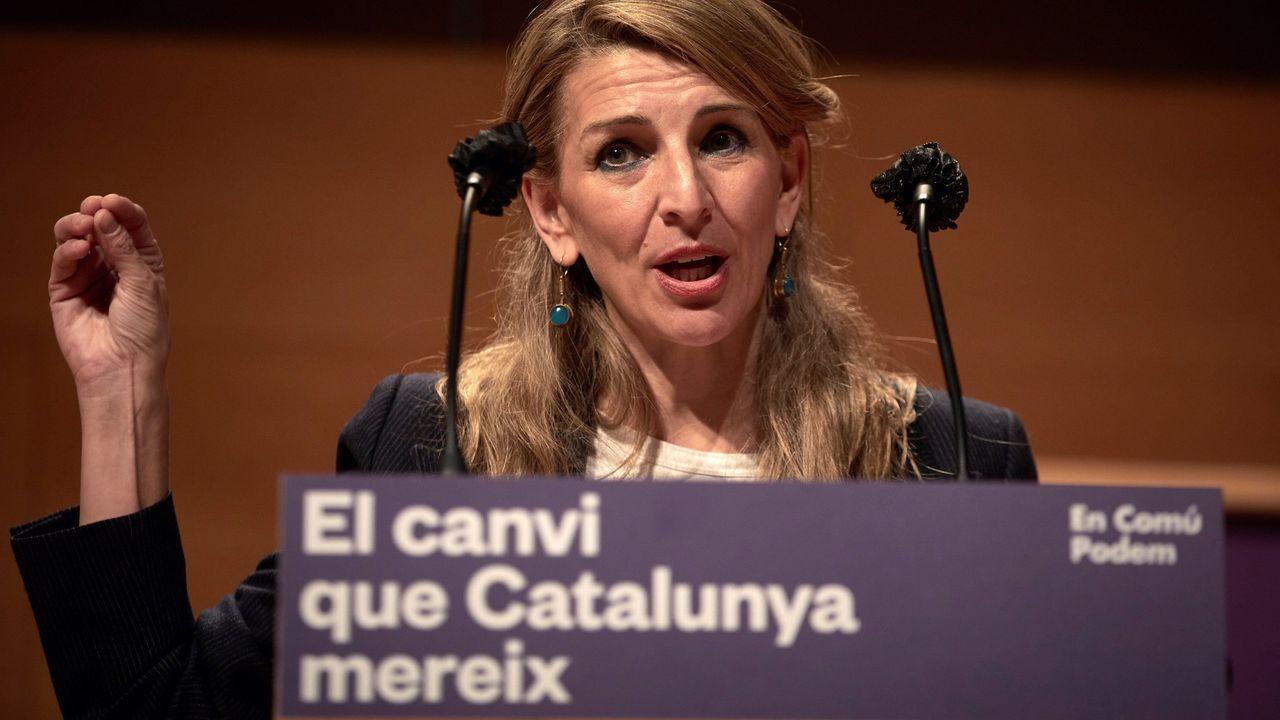 La ministra de Trabajo, Yolanda Díaz, en un acto electoral de En Comú Podem en Gerona