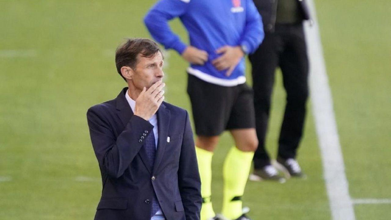 José Ángel Ziganda, durante el encuentro ante el Albacete