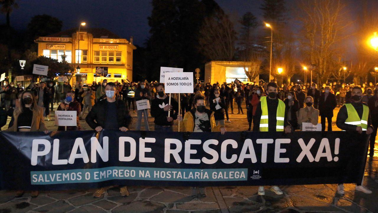 Protesta de la hosteleria en Noia 2021