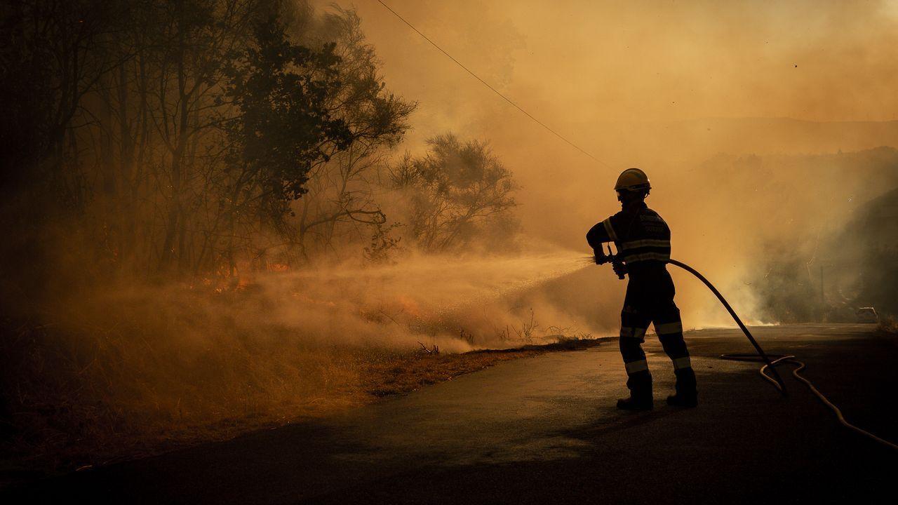 Los medios de extinción trabajan en Vilariño de Conso.El incendio de Cualedro se extendió al municipio de Monterrei