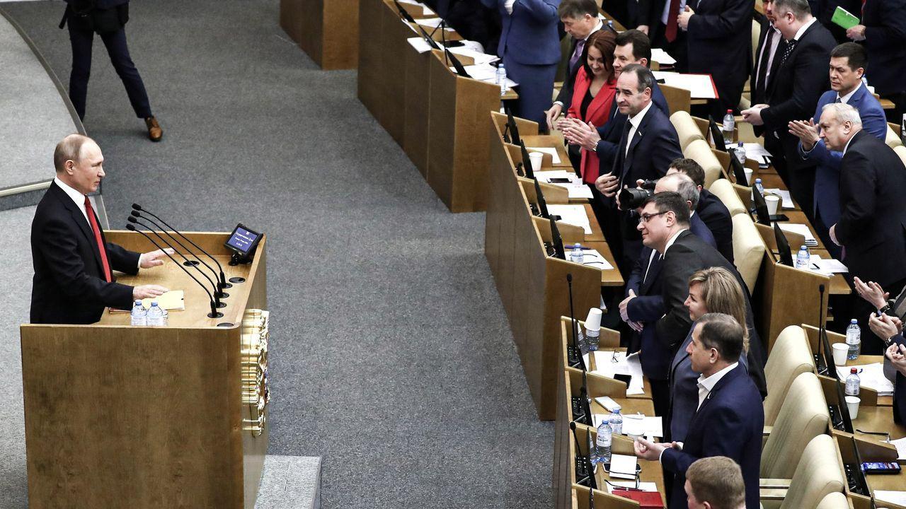 Putin, durante su discurso en la Duma
