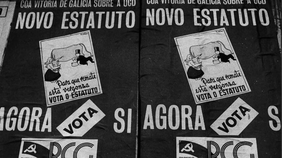40 años del Estatuto de Galicia: intervención de Alberto Núñez Feijoo.Cartel histórico en el que se reclamaba un nuevo estatuto para Galicia