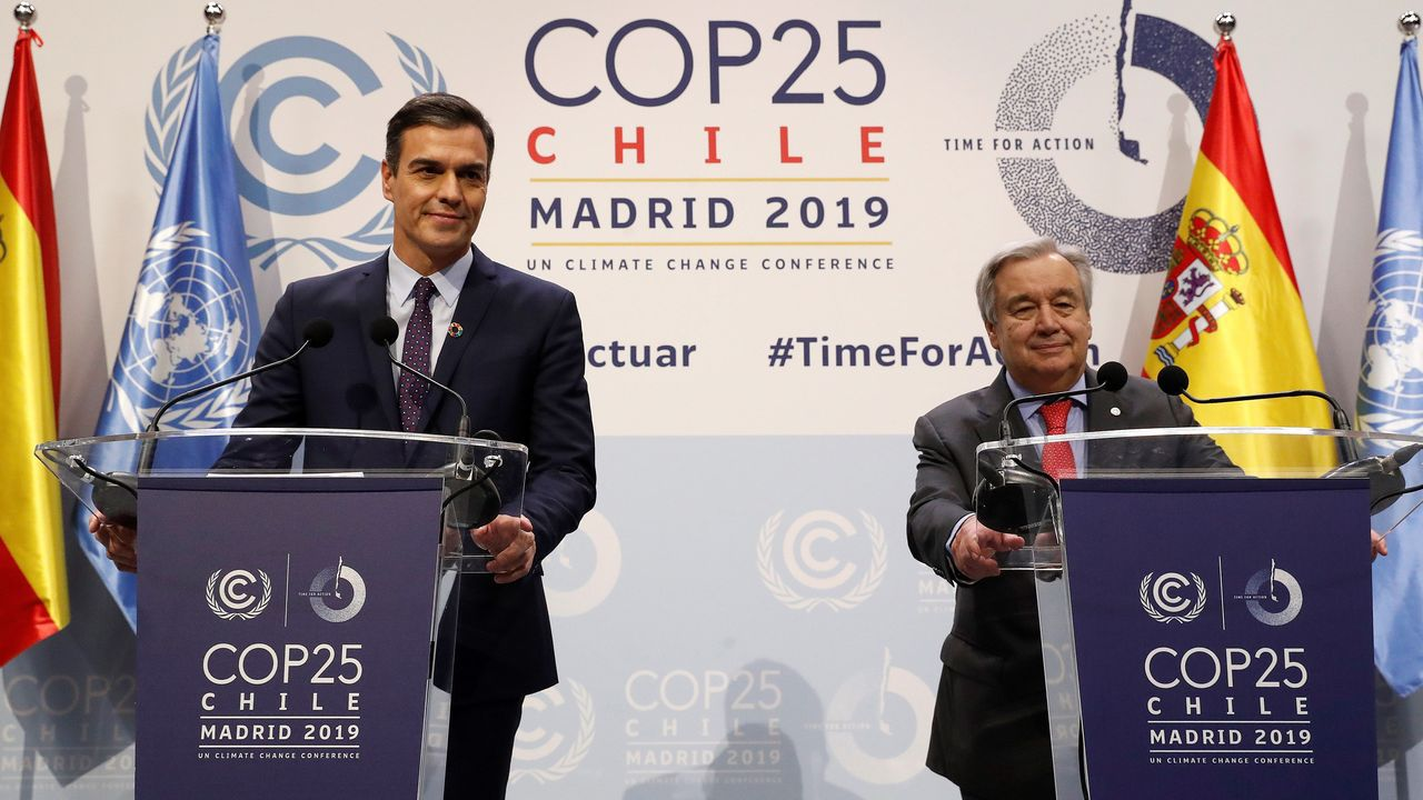 Pablo Casado (PP), Iván Espinosa de los Monteros (Vox), Pablo Iglesias (Podemos), e Inés Arrimadas (Ciudadanos), durante la ceremonia de apertura de la Cumbre del Clima (COP25) que se celebra en Madrid