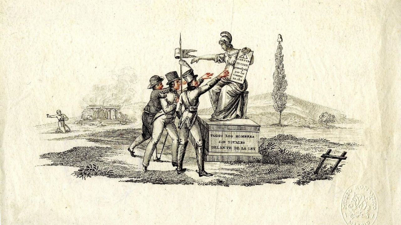 Grabado alegórico sobre la libertad realizado durante el Trienio Liberal