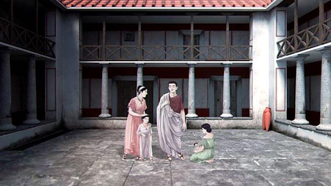 Luar na Lubre, en Fisterra.Los restos de la domus muestran un edificio de dos pisos y con un patio porticado o peristilo, desde donde partían varias estancias de la casa
