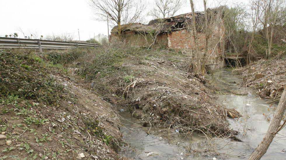 El punto en el que se producen los vertidos, próximo al molino de Cobas, en una imagen de archivo