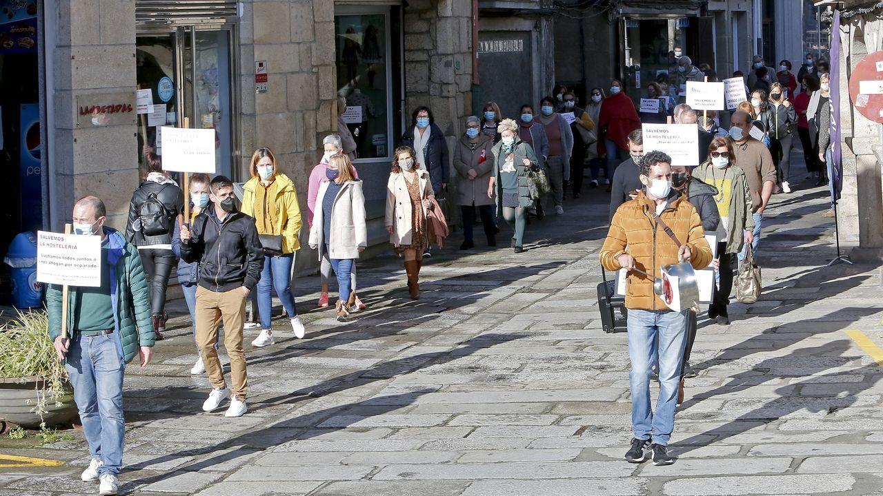 Protesta de hostaleiros e comerciantes de Caldas que tivo lugar o pasado 12 de novembro