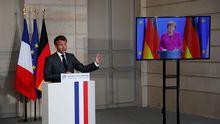El presidente francés y la canciller alemana dieron una rueda de prensa conjunta por videoconferencia para anunciar la iniciativa
