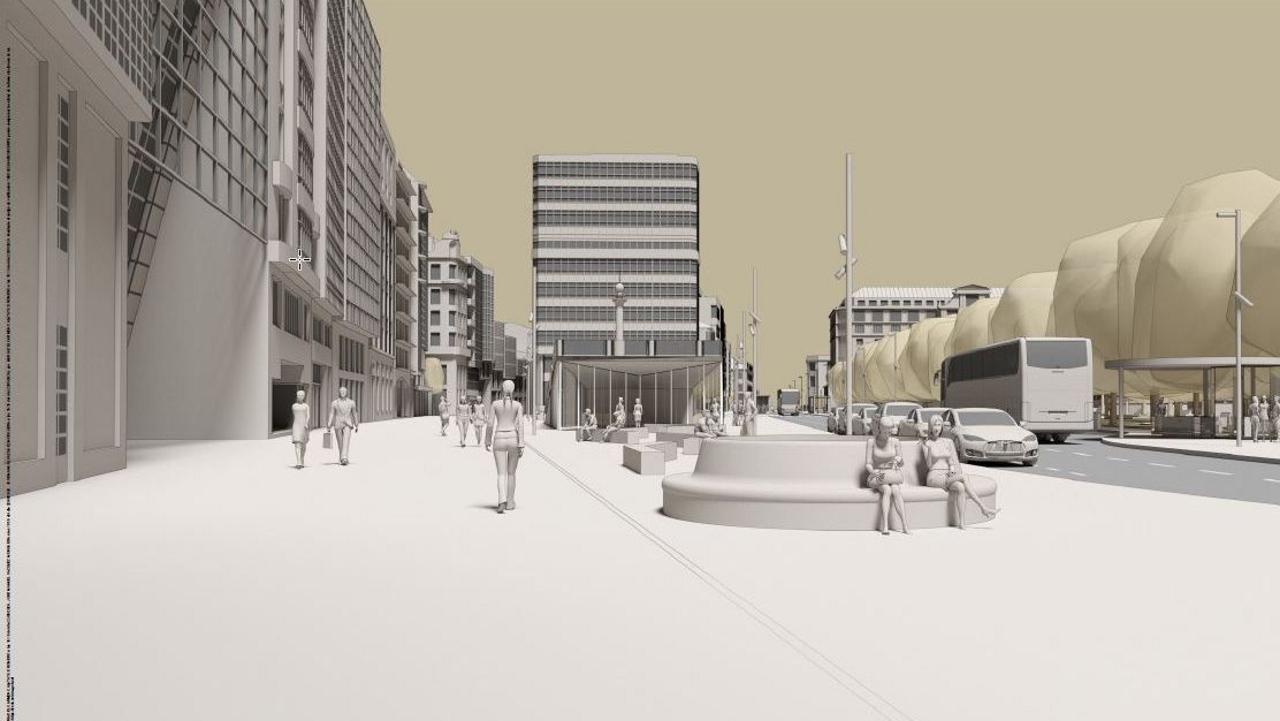 La grada prevista en el proyecto de reforma de los Cantones, en el centro de la imagen, está orientada al Obelisco y serviría de balcón elevado para actos culturales, además de cubrir la actual rampa de salida del aparcamiento subterráneo