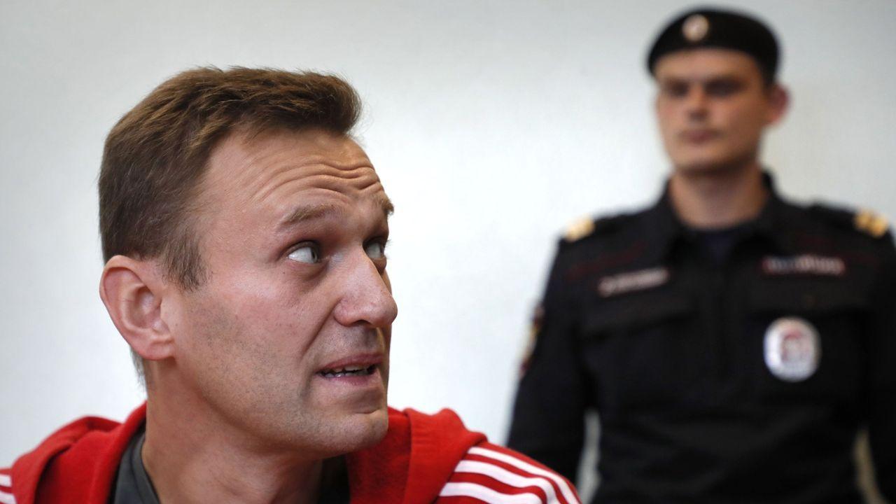 Navalni, en un tribunal de Moscú, en agosto del 2019