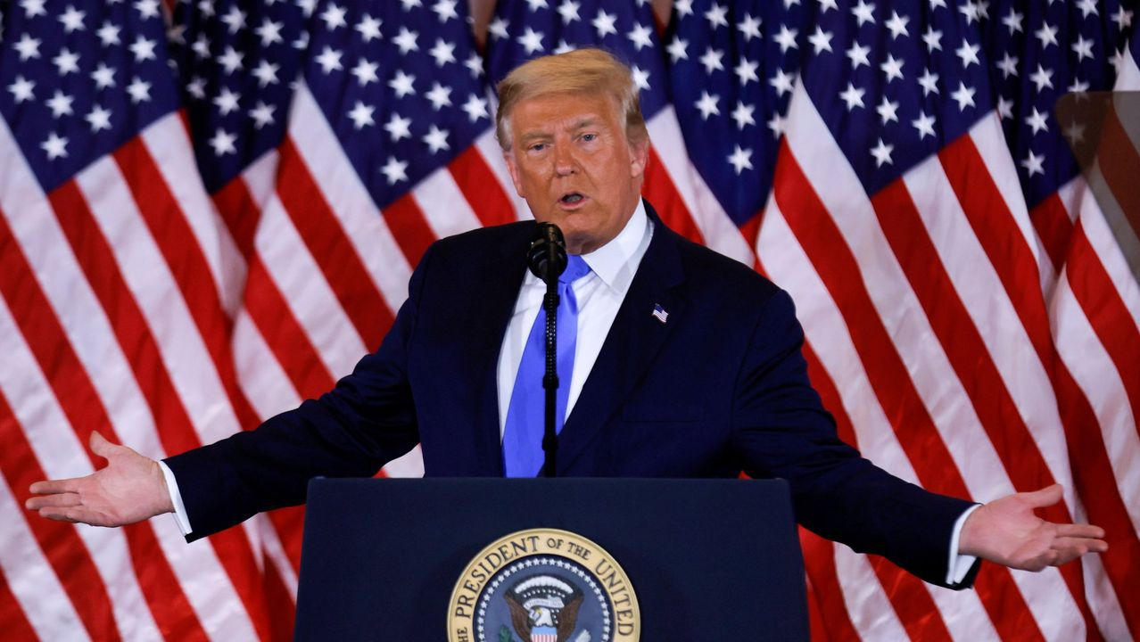 Donald Trump, en la rueda de prensa de la noche electoral