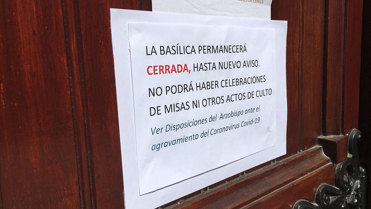 El cartel informativo en la basílica de San Juan