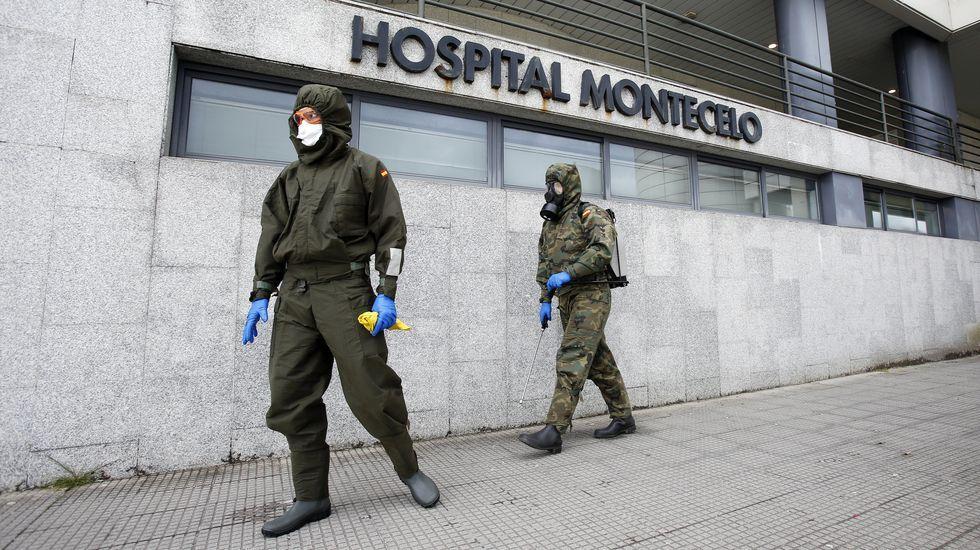 Madrugón para hacer deporte en Pontevedra.La Brilat procede a la desinfección del hospital de Montecelo