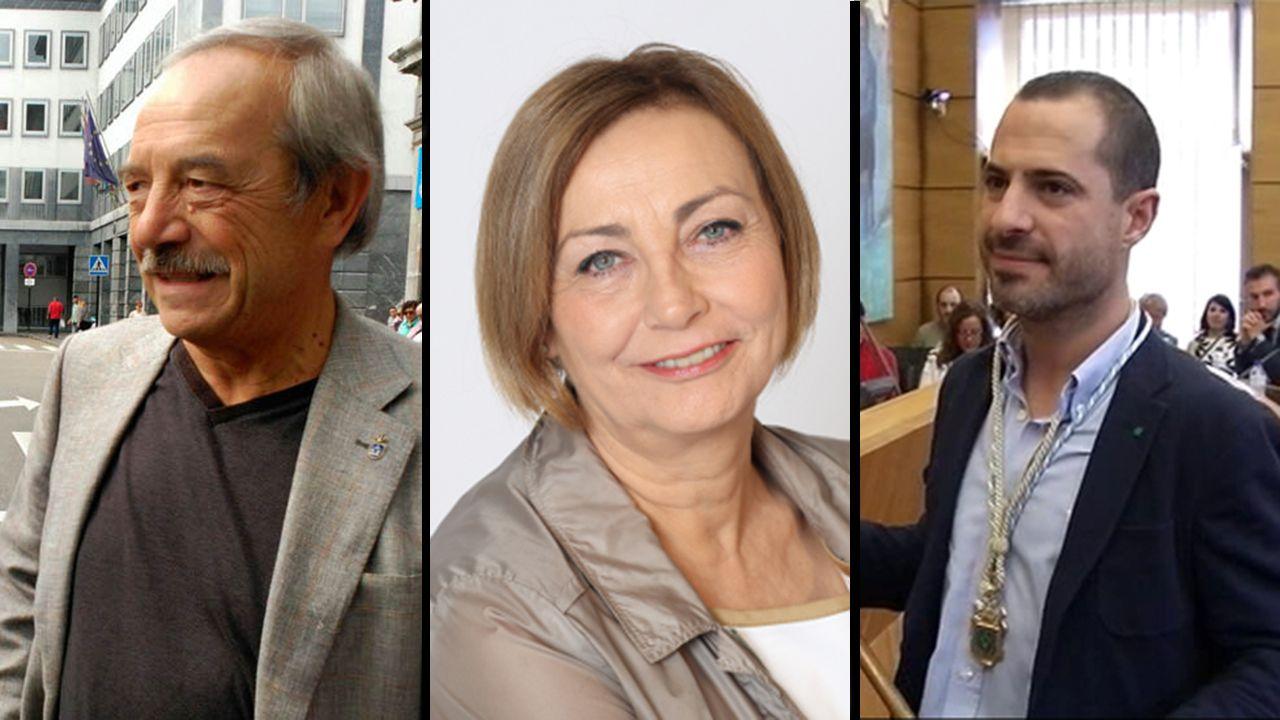 La alcaldesa de Avilés, Mariví Monteserín.Wenceslao López, Mariví Monteserín y Ángel García