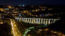 El puente de A Chanca, en Lugo, iluminado